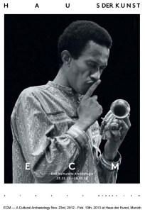 Don Cherry ponders and asks his toy trumpet to be quiet on the exhibition poster
