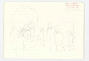 Double blind drawing of 'This variation'. Chant: 'How did we get to be so far apart? Something to share...'